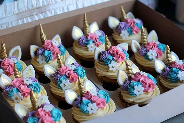 Unicorn cupcakes in a box look great. Order your twelve cupcakes today. This image was taken in Johannesburg, South Africa
