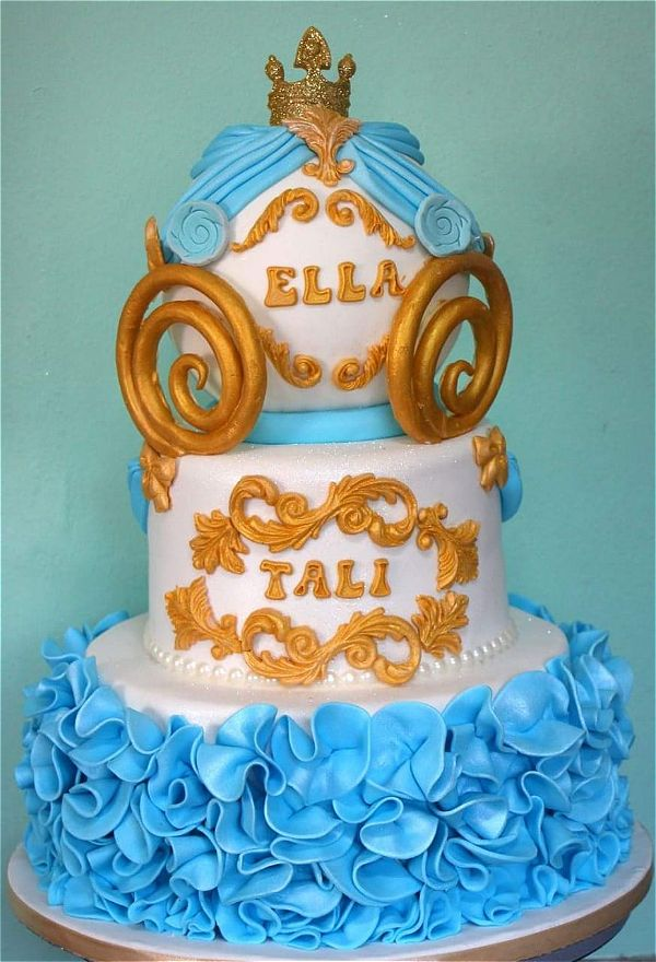 A princess theme cake with blue and gold is a wonderfully presented cake. This image was taken in Johannesburg, South Africa