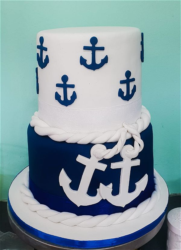 blue and white cakes always make us think of sailing and anchors. This is a perfect cake for a boys birthday party. This image was taken in Johannesburg, South Africa