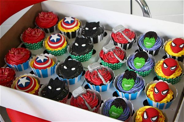 superhero cupcakes in a box. This will light up any boys face on his birthday. This image was taken in Johannesburg, South Africa