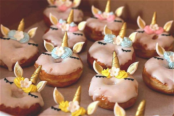 Unicorn doughnuts with a gold colour theme. This is something different and we do them well. This image was taken in Johannesburg, South Africa