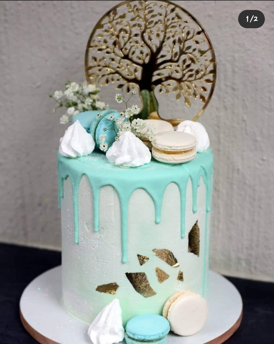 Chilled green and blue Drip Cake